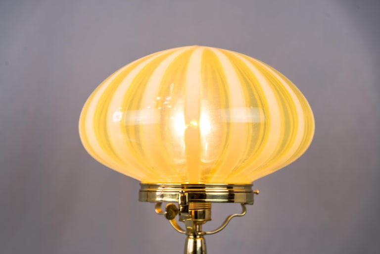 Big Jugendstil Table Lamp with Original Opaline Glass Shade Vienna, circa 1910s For Sale 3