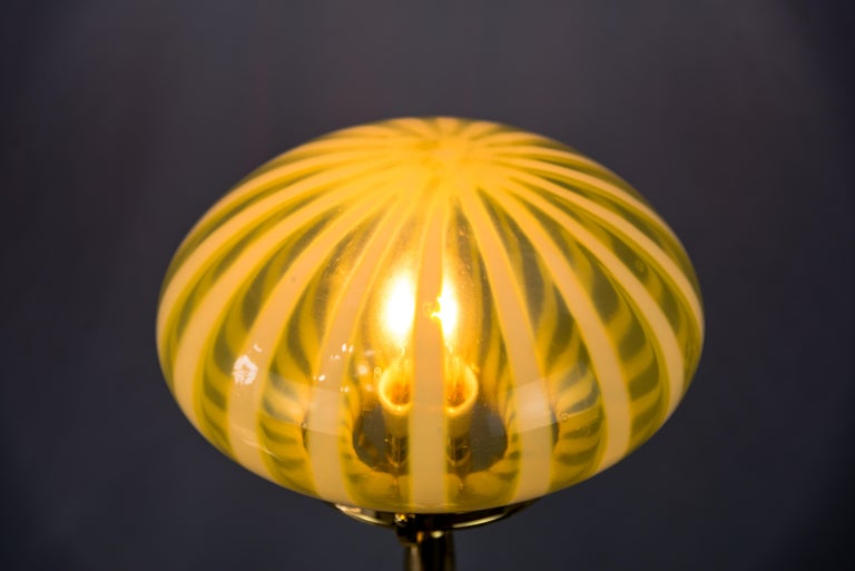 Big Jugendstil Table Lamp with Original Opaline Glass Shade Vienna, circa 1910s For Sale 4