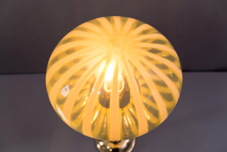 Big Jugendstil Table Lamp with Original Opaline Glass Shade Vienna, circa 1910s For Sale 5