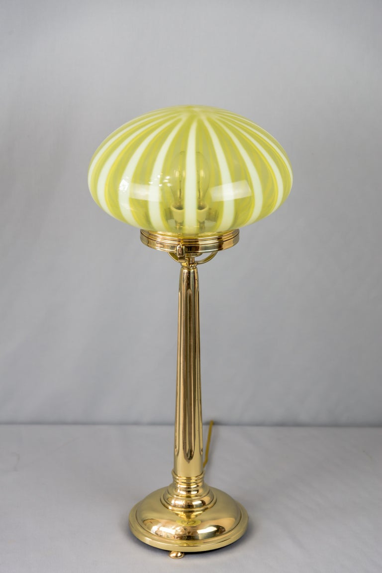 Big jugendstil table lamp with original opaline glass shade Vienna circa 1910s.