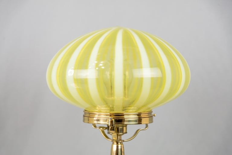 Austrian Big Jugendstil Table Lamp with Original Opaline Glass Shade Vienna, circa 1910s For Sale