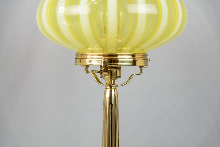 Polished Big Jugendstil Table Lamp with Original Opaline Glass Shade Vienna, circa 1910s For Sale