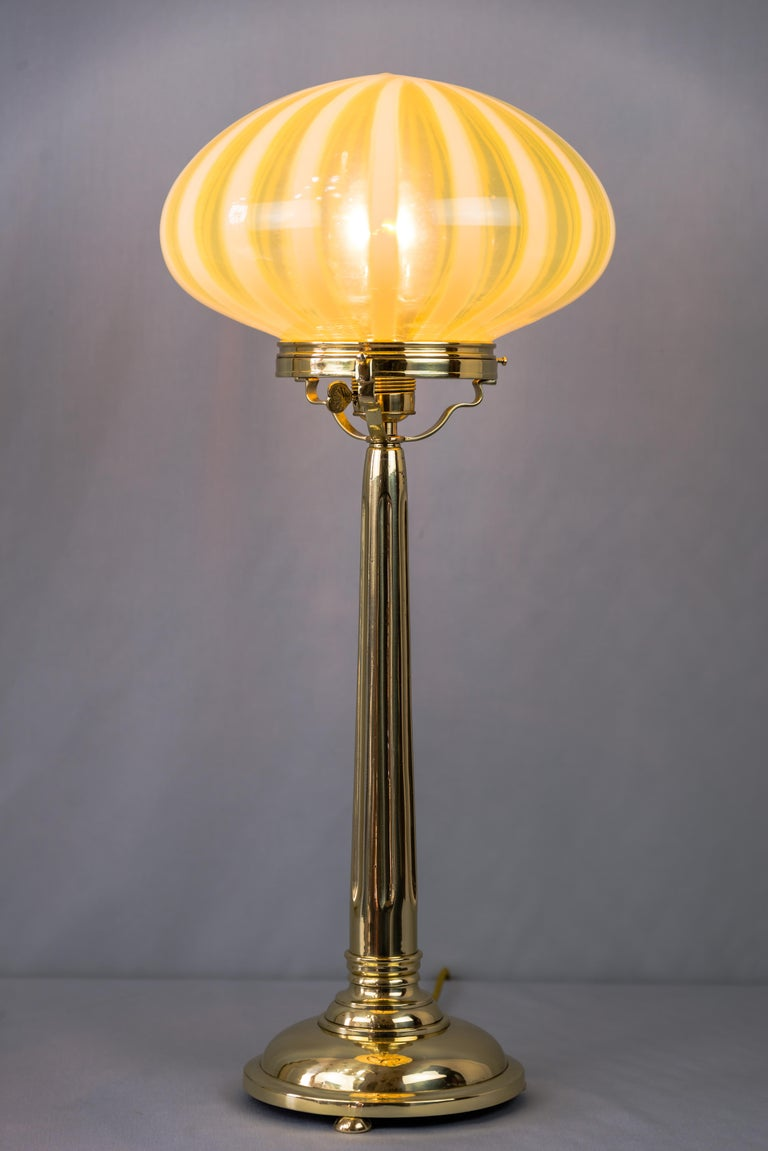 Early 20th Century Big Jugendstil Table Lamp with Original Opaline Glass Shade Vienna, circa 1910s For Sale