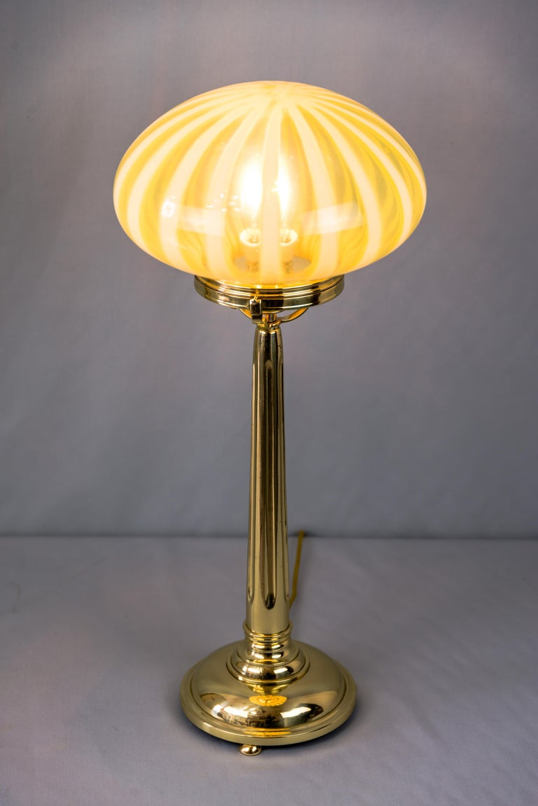 Brass Big Jugendstil Table Lamp with Original Opaline Glass Shade Vienna, circa 1910s For Sale