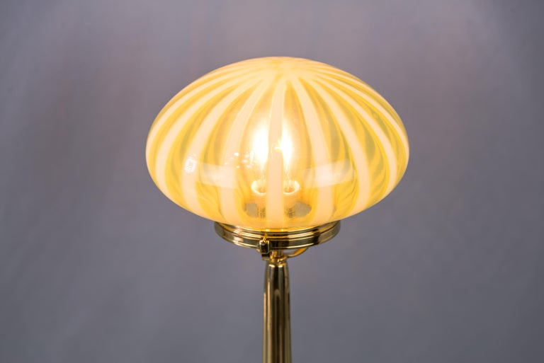 Big Jugendstil Table Lamp with Original Opaline Glass Shade Vienna, circa 1910s For Sale 1