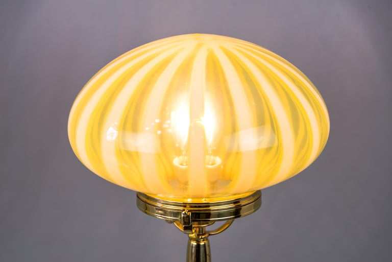Big Jugendstil Table Lamp with Original Opaline Glass Shade Vienna, circa 1910s For Sale 2