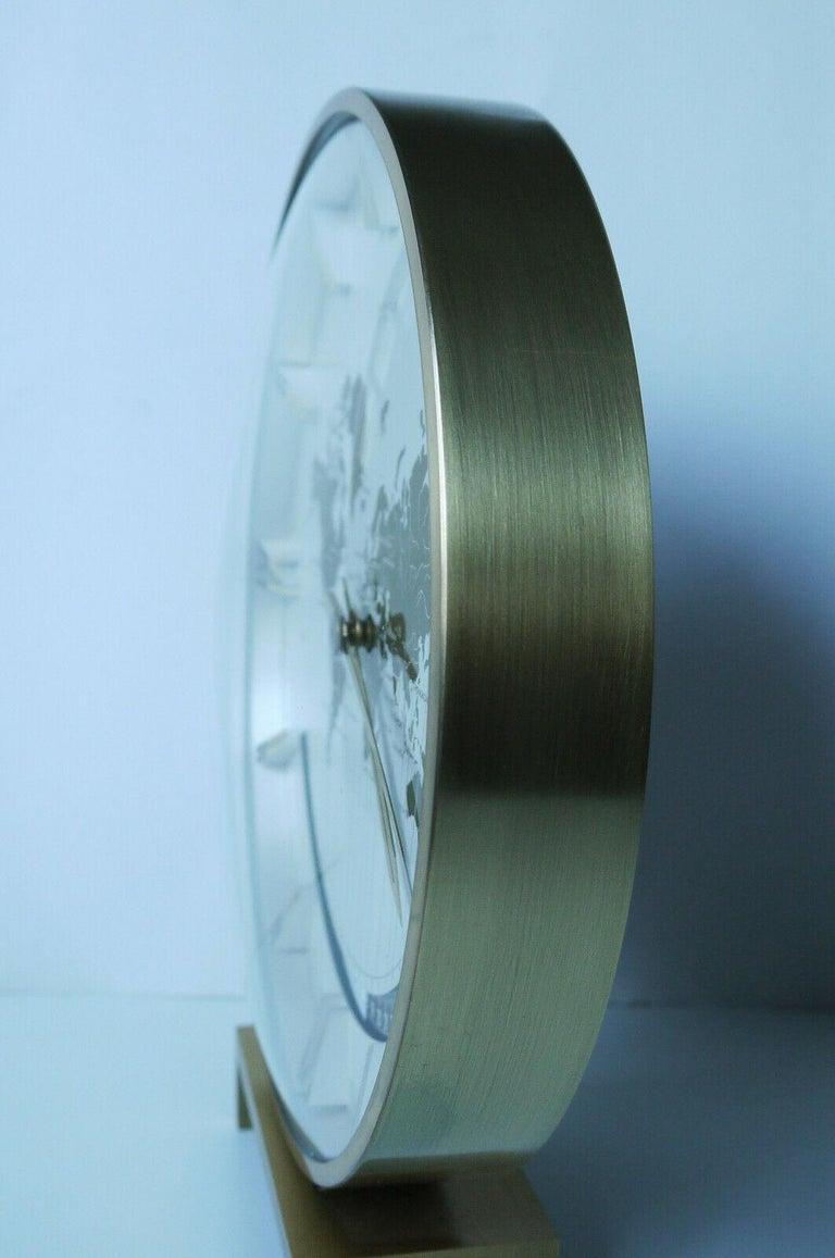 Art Deco Big Kienzle Weltzeituhr Modernist Table World Timer Zone Clock, 1960s For Sale
