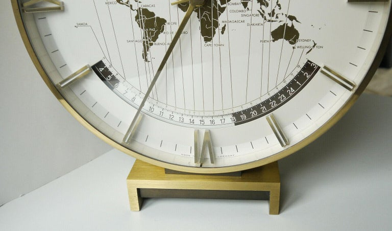 Mid-20th Century Big Kienzle Weltzeituhr Modernist Table World Timer Zone Clock, 1960s For Sale