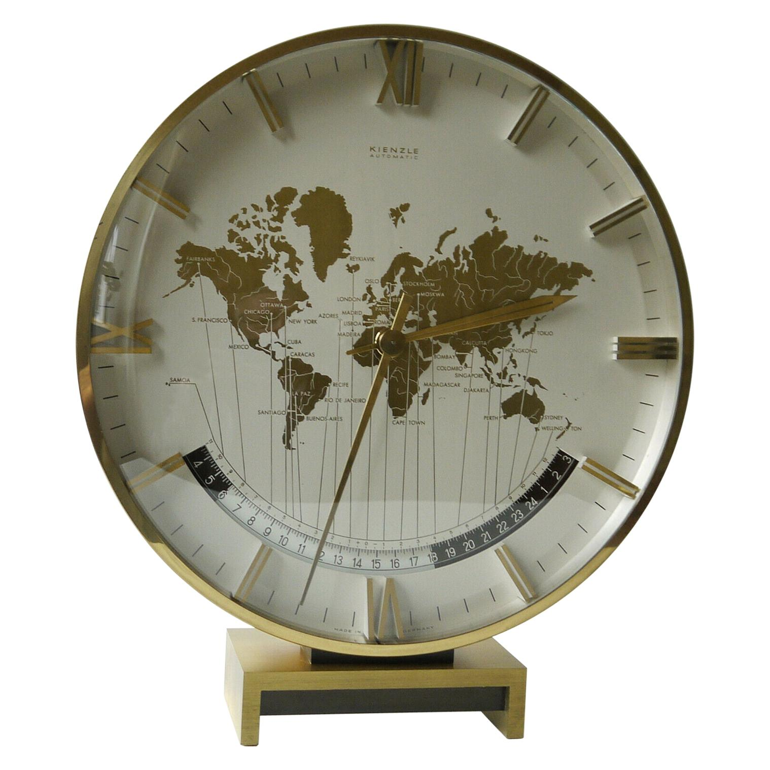 Big Kienzle Weltzeituhr Modernist Table World Timer Zone Clock, 1960s