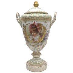 Big KPM Berlin Porcelain lid vase - Weimar vase with Weichmalerei Painting from