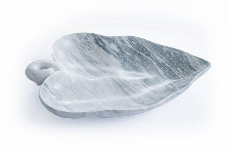Italian Big Leaf Bowl in Bardiglio Marble Handmade in Italy For Sale