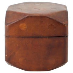 Big Leather Die Card Game Box Italy Dice Vintage Midcentury Object Casino Gift