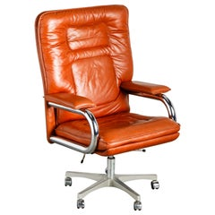 'Big' Leather Executive Desk Chair by Guido Faleschini for i4Mariani, circa 1979