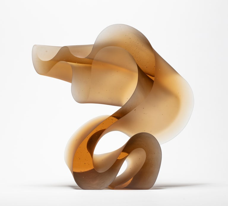 Modern Big Line in Amber, a Unique Amber Cast Glass Sculpture by Karin Mørch For Sale