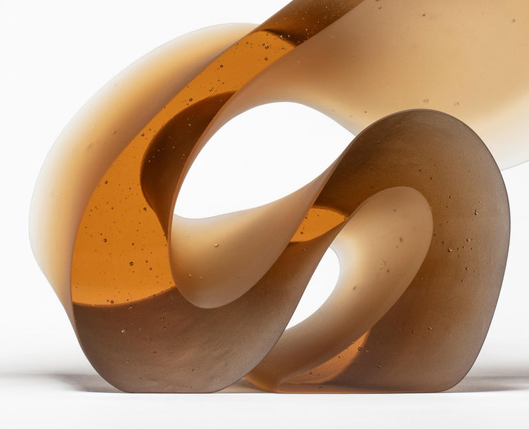 Big Line in Amber, a Unique Amber Cast Glass Sculpture by Karin Mørch For Sale 1
