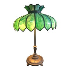 Big Luminous Green Leaded Glass and Brass Table Lamp