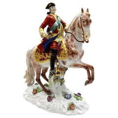 Big Meissen Porcelain Figure August III on Horseback