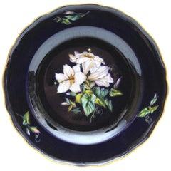 Big Meissen Porcelain Plate with Beautiful Flowers Painting in Cobalt Blue N4