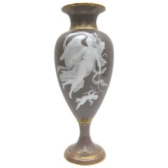 Big Meissen Vase with Pate Sur Pate Painting on Salmon Background