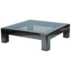 Big Metal and Glass Coffee Table