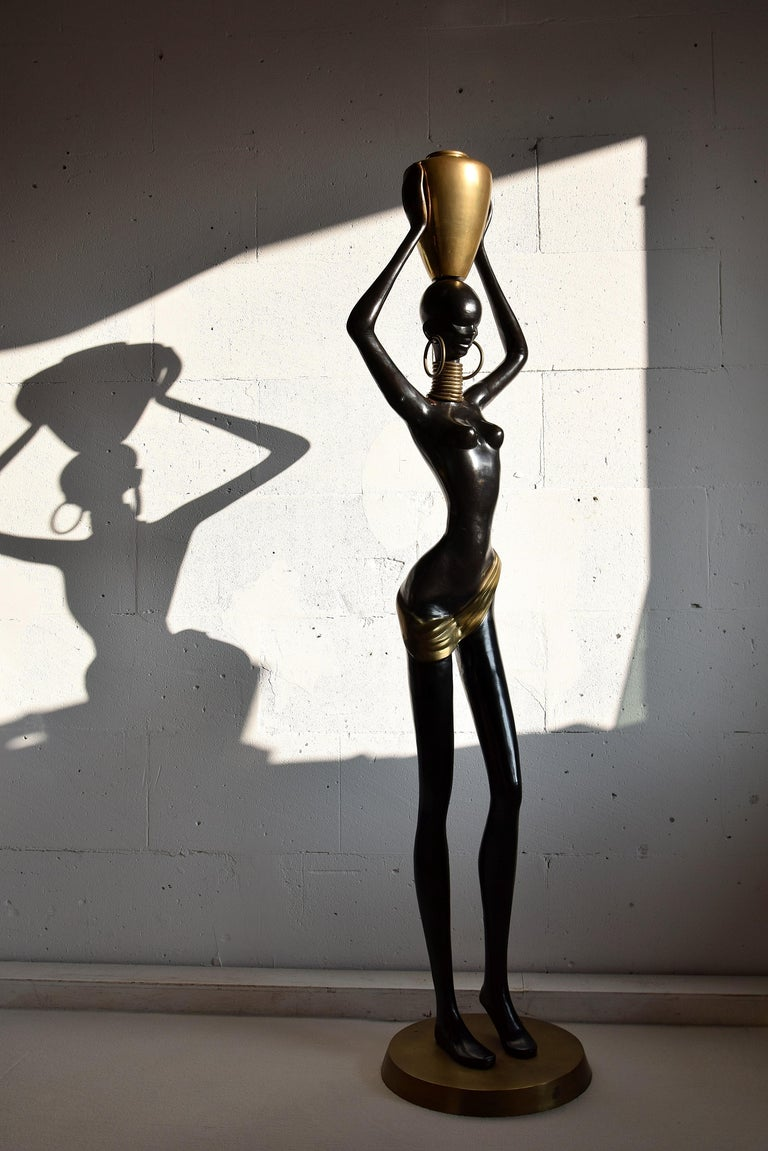 Stunning Human Size Mid-Century Modern Brass and Copper Statue For Sale 5