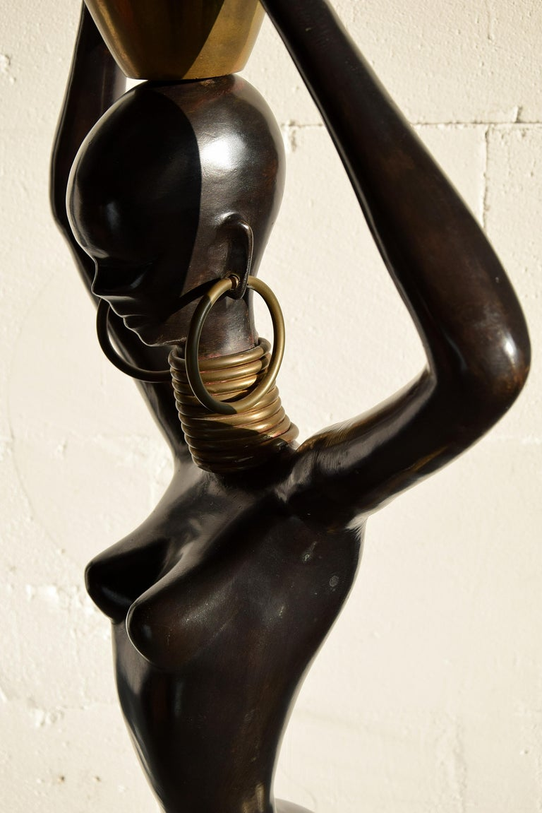 Stunning Human Size Mid-Century Modern Brass and Copper Statue For Sale 6