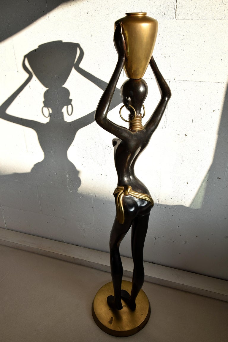 Austrian Stunning Human Size Mid-Century Modern Brass and Copper Statue For Sale