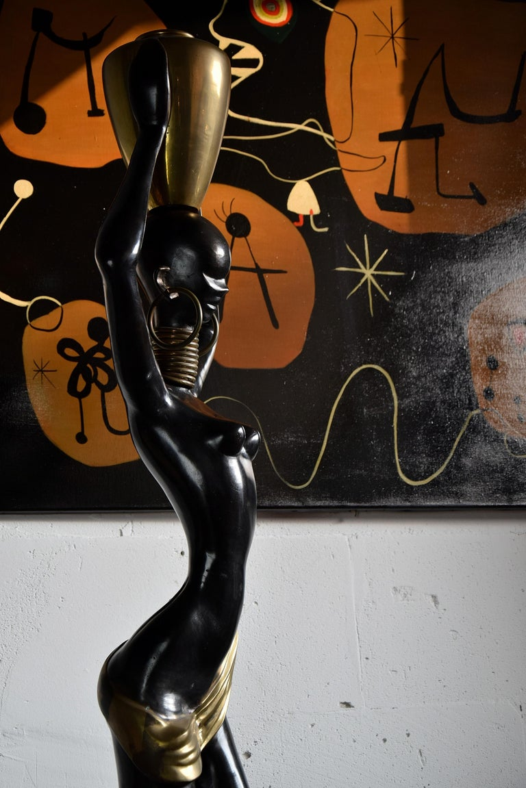 Stunning Human Size Mid-Century Modern Brass and Copper Statue For Sale 4