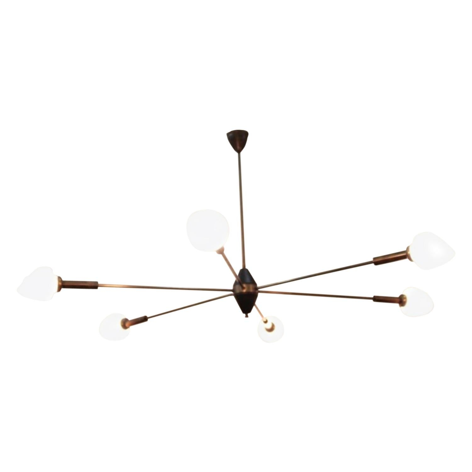 Big Midcentury Brass Ceiling Lamp in the Style of Arredoluce