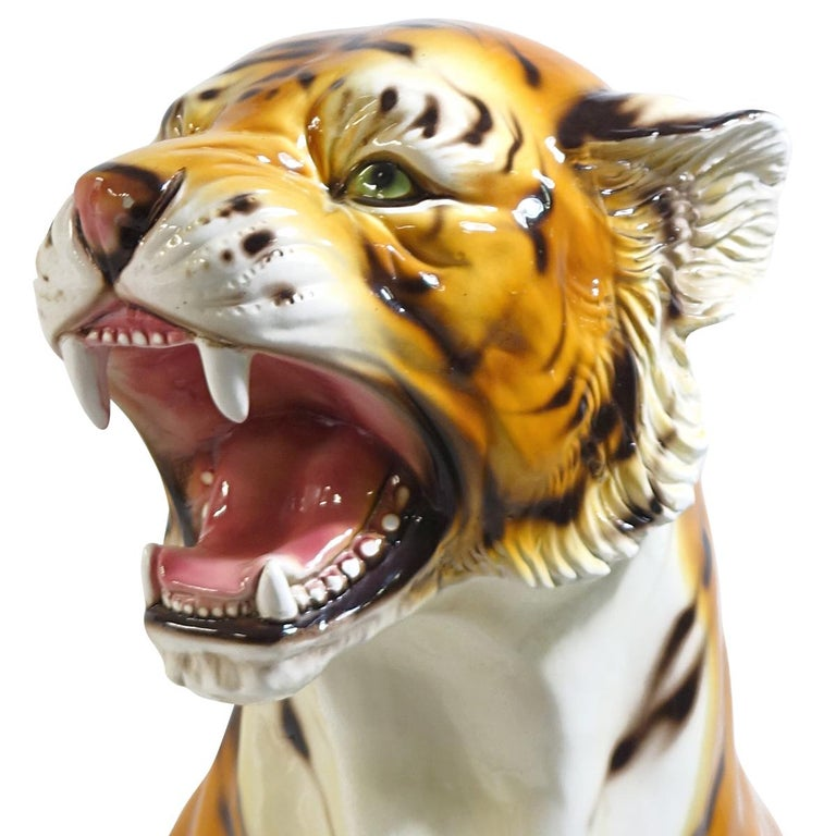Italian Big Mid-Century Modern Ceramic Tiger in the Style of Ronzan Marked Made in Italy For Sale