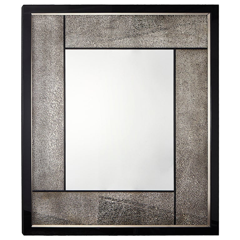 Big Mirror with Cracked Glass and Piano Black/Silver Frame, Available Now For Sale