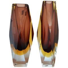 Big Murano Vases Sommerso with Original Label, 1970s