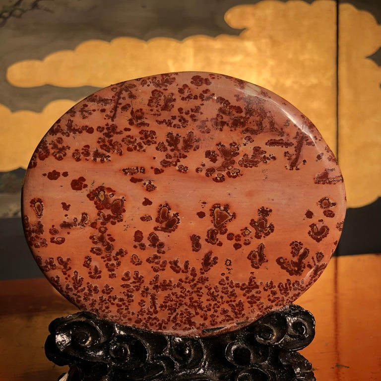 Chinese Big Natural Sea Red Viewing Stone, Extraordinary Art, Fine Gift For Sale