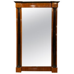Big Neoclassical Wall Mirror, Walnut Veneer, South Germany, circa 1830