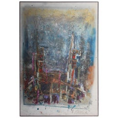 Big Oil on Canvas from the 1960s, Signed v, Busa Abstract Colored Italian Design