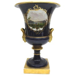 Big Old Meissen Porcelain Vase with View of Pillnitz Castle in Cobalt Blue