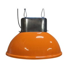 Big Orange Industrial Vintage European Original Steel Pendant Lamp