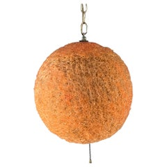 Big Orange Spun Fiberglass Swag Lamp