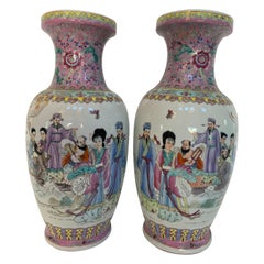 Big Pair of Chinese Hand Painted Porcelain Vase