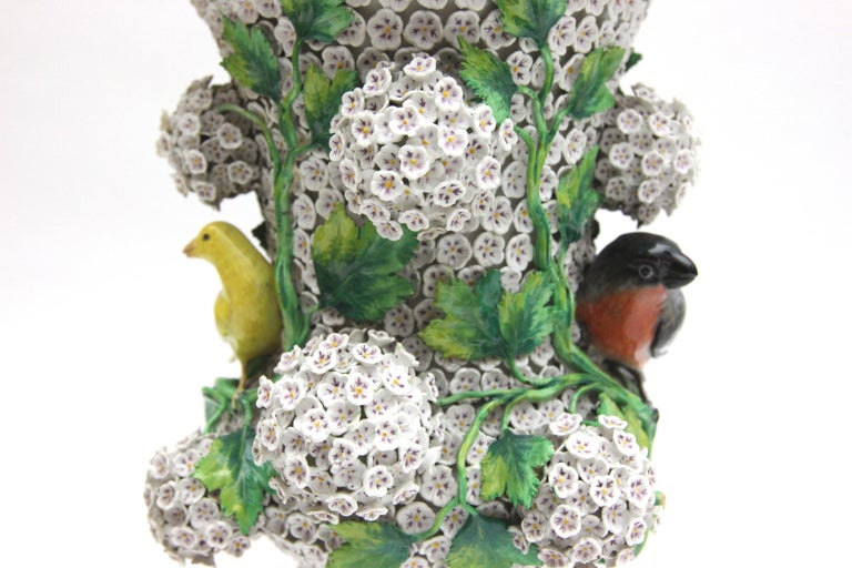 German Big Pair of Meissen Porcelain Vases in Snowball Decor with Birds and Flowers For Sale