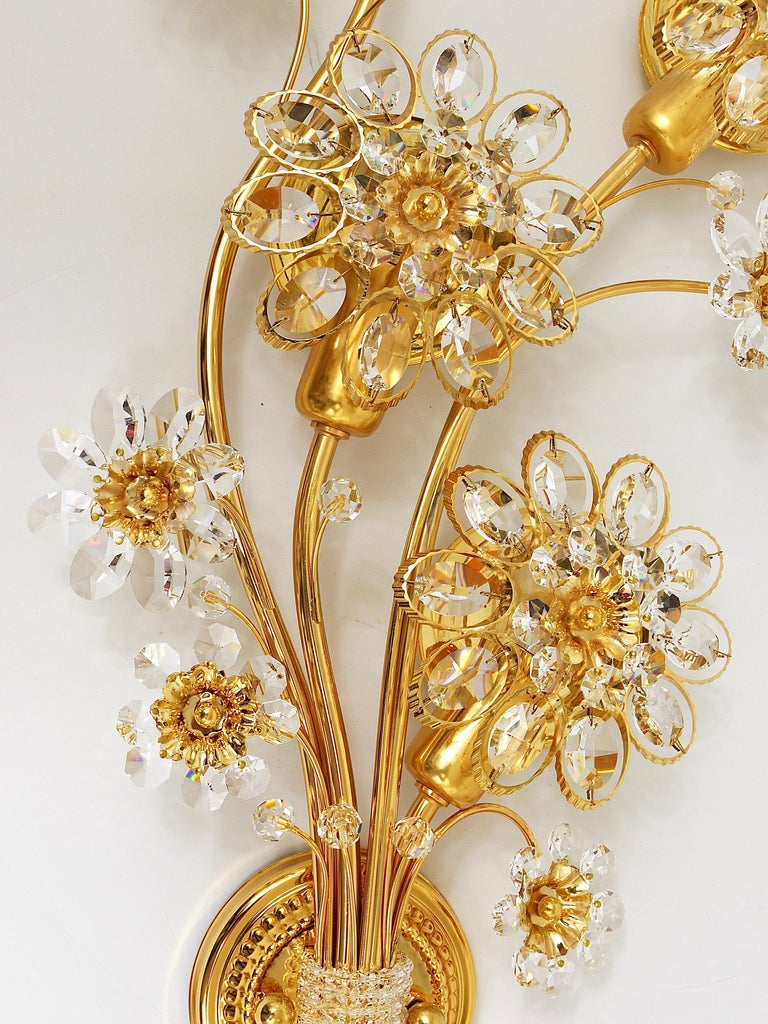 Big Palwa Bunch of Flowers Gilt Brass Crystals Flower Wall Light Sconce, 1970s For Sale 3