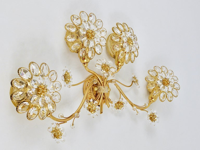 Big Palwa Bunch of Flowers Gilt Brass Crystals Flower Wall Light Sconce, 1970s For Sale 5