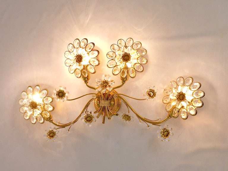Mid-Century Modern Big Palwa Bunch of Flowers Gilt Brass Crystals Flower Wall Light Sconce, 1970s For Sale