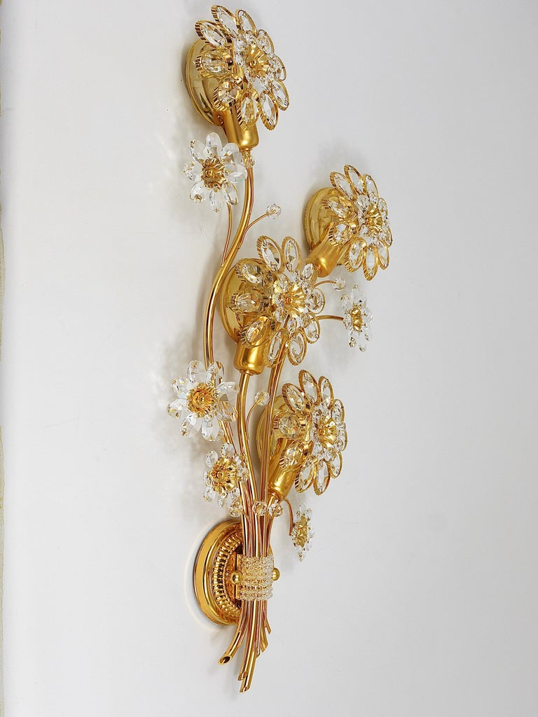 German Big Palwa Bunch of Flowers Gilt Brass Crystals Flower Wall Light Sconce, 1970s For Sale