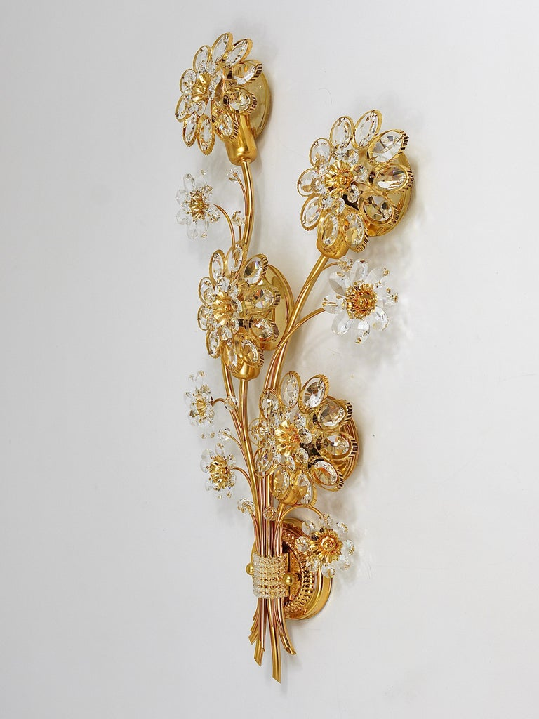 Big Palwa Bunch of Flowers Gilt Brass Crystals Flower Wall Light Sconce, 1970s For Sale 1