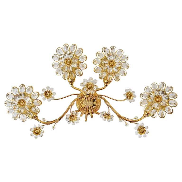 Big Palwa Bunch of Flowers Gilt Brass Crystals Flower Wall Light Sconce, 1970s For Sale