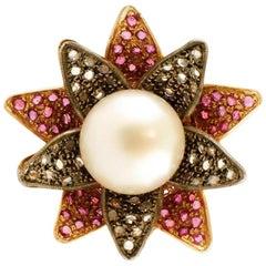 Big Pearl, Diamonds, Rubies, 14 Karat Rose Gold and Silver Flower Ring