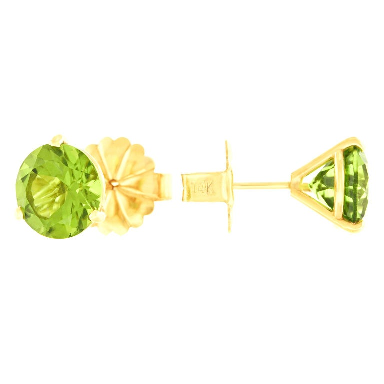 Big Peridot Gold Stud Earrings In Excellent Condition For Sale In Litchfield, CT