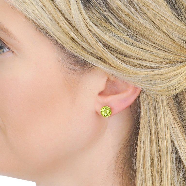 Women's or Men's Big Peridot Gold Stud Earrings For Sale