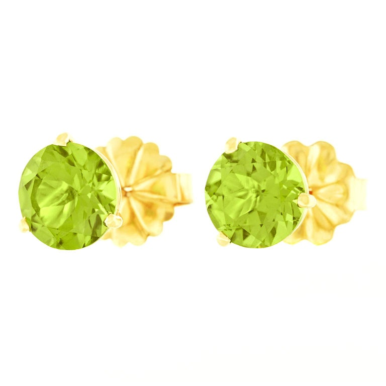 Big Peridot Gold Stud Earrings For Sale 3